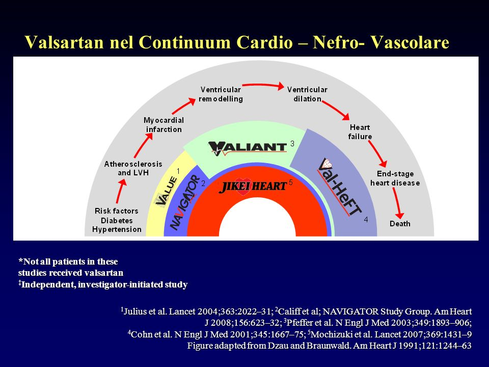 Valsartan nel Continuum Cardio – Nefro- Vascolare *Not all patients in these studies received valsartan Independent, investigator-initiated study 1 Julius et al.