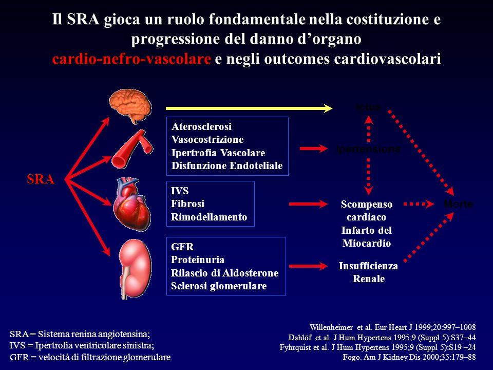 Il SRA gioca un ruolo fondamentale nella costituzione e progressione del danno dorgano cardio-nefro-vascolare e negli outcomes cardiovascolari GFR Proteinuria Rilascio di Aldosterone Sclerosi glomerulare Aterosclerosi Vasocostrizione Ipertrofia Vascolare Disfunzione Endoteliale IVS Fibrosi Rimodellamento Ictus Morte Ipertensione Scompenso cardiaco Infarto del Miocardio Insufficienza Renale SRA SRA = Sistema renina angiotensina; IVS = Ipertrofia ventricolare sinistra; GFR = velocità di filtrazione glomerulare Willenheimer et al.