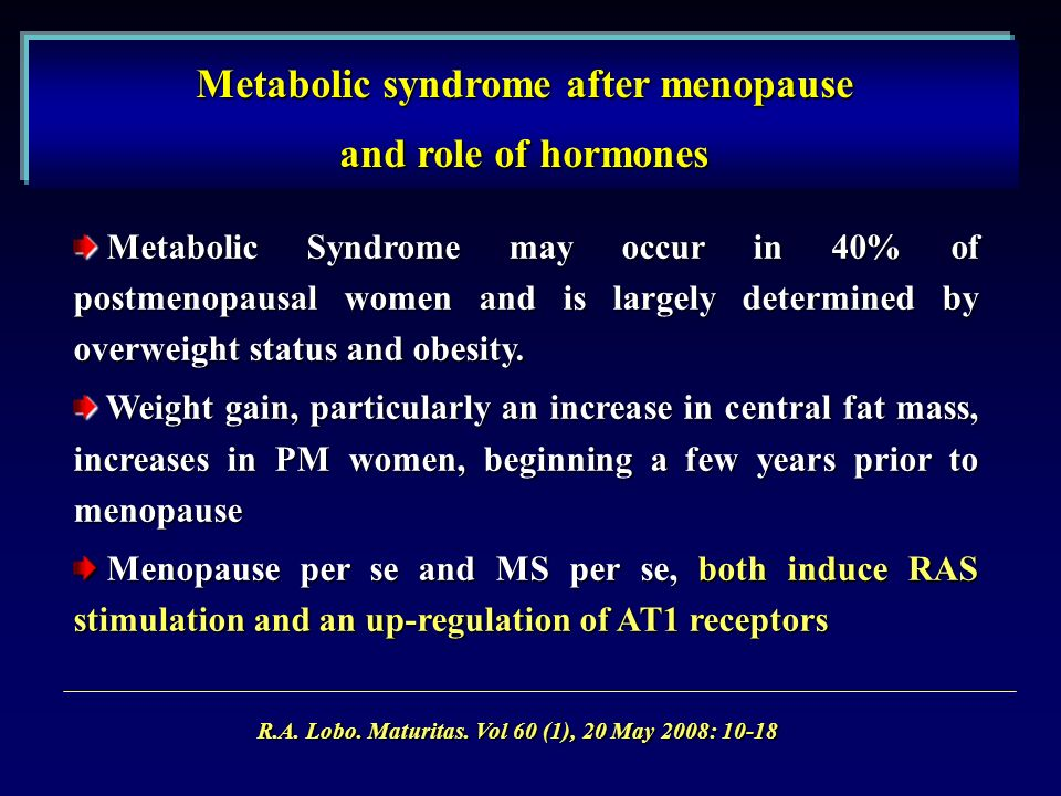 Metabolic Syndrome may occur in 40% of postmenopausal women and is largely determined by overweight status and obesity.