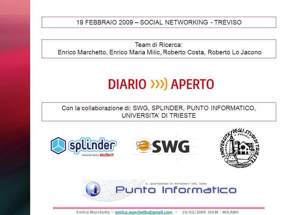 Enrico Marchetto – enrico.marchetto@gmail.com – 19/02/2009 IULM - MILANOenrico.marchetto@gmail.com 19 FEBBRAIO 2009 – SOCIAL NETWORKING - TREVISO Team