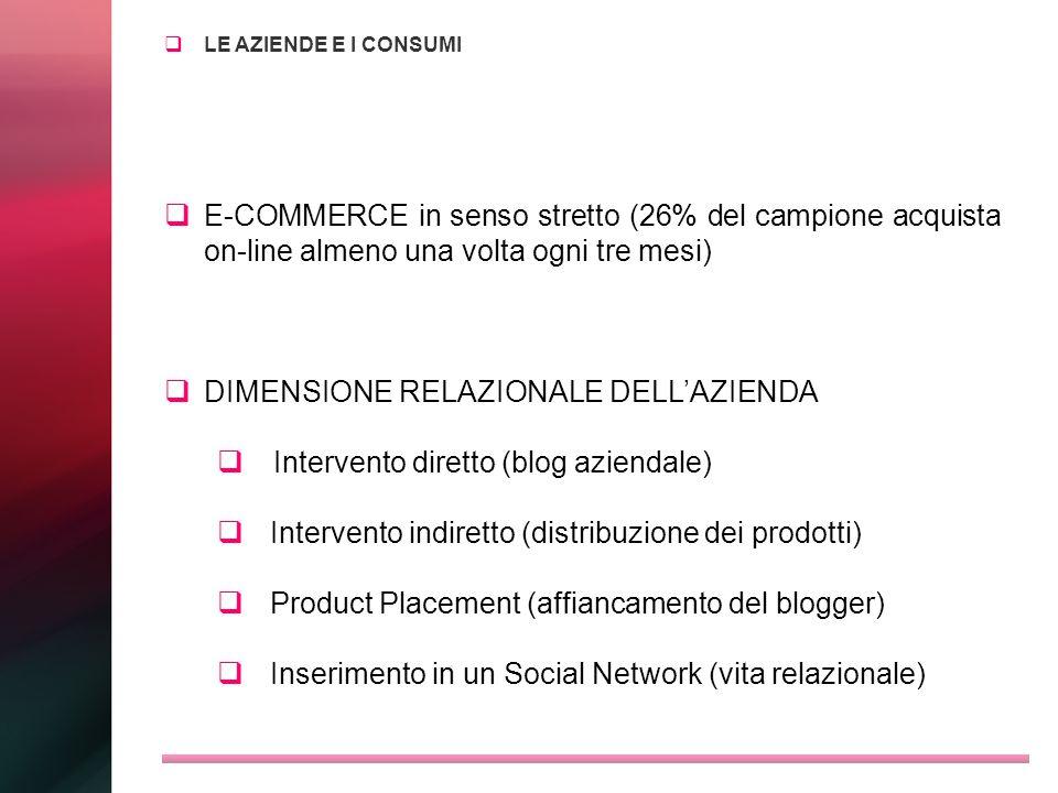 LE AZIENDE E I CONSUMI E-COMMERCE in senso stretto (26% del campione acquista on-line almeno una volta ogni tre mesi) DIMENSIONE RELAZIONALE DELLAZIEN