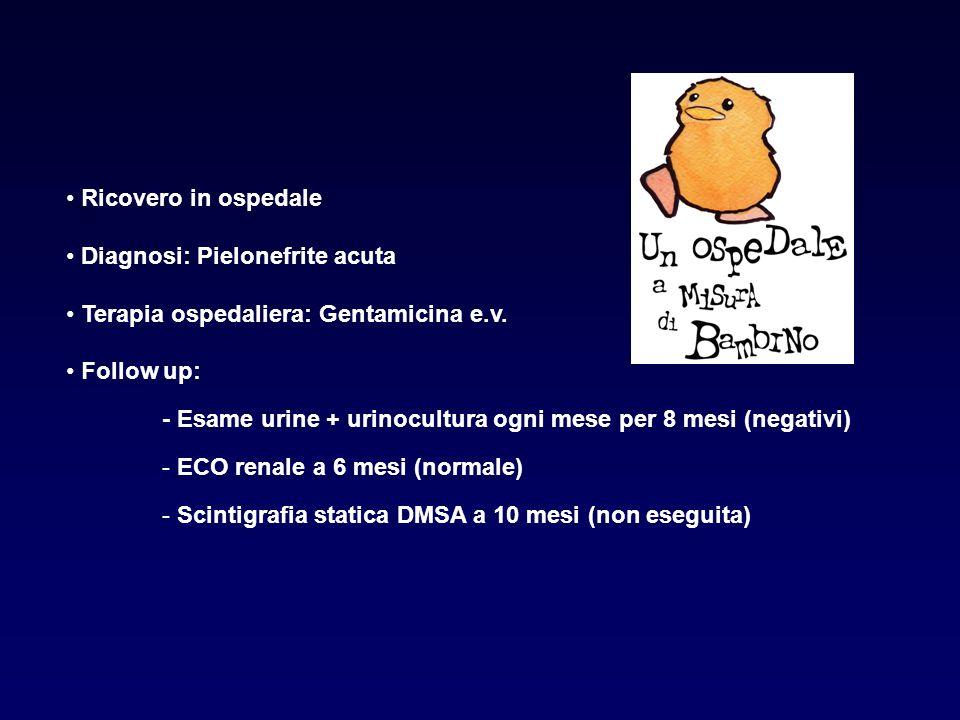 Ricovero in ospedale Diagnosi: Pielonefrite acuta Terapia ospedaliera: Gentamicina e.v. Follow up: - Esame urine + urinocultura ogni mese per 8 mesi (