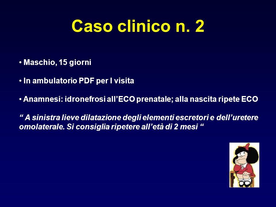 Caso clinico n. 2 Maschio, 15 giorni In ambulatorio PDF per I visita Anamnesi: idronefrosi allECO prenatale; alla nascita ripete ECO A sinistra lieve