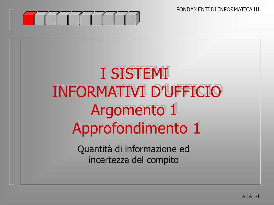 FONDAMENTI DI INFORMATICA III A1A1-1 I SISTEMI INFORMATIVI DUFFICIO Argomento 1 Approfondimento 1 I SISTEMI INFORMATIVI DUFFICIO Argomento 1 Approfondimento 1 Quantità di informazione ed incertezza del compito