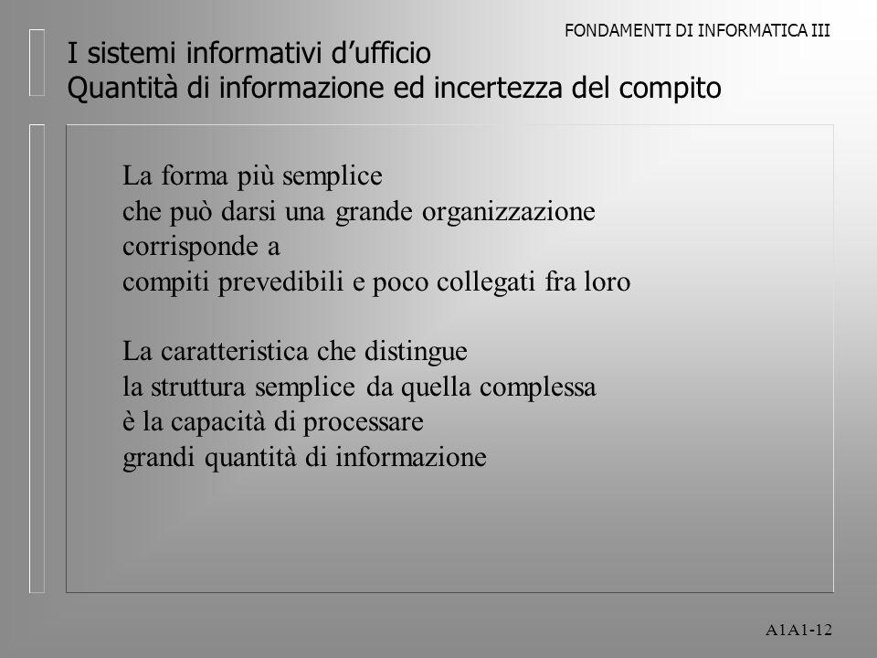 FONDAMENTI DI INFORMATICA III A1A1-12 I sistemi informativi dufficio Quantità di informazione ed incertezza del compito La forma più semplice che può darsi una grande organizzazione corrisponde a compiti prevedibili e poco collegati fra loro La caratteristica che distingue la struttura semplice da quella complessa è la capacità di processare grandi quantità di informazione