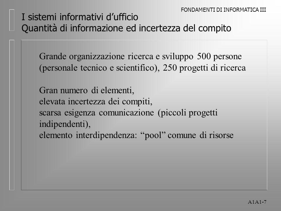 FONDAMENTI DI INFORMATICA III A1A1-8 I sistemi informativi dufficio Quantità di informazione ed incertezza del compito Organizzazione con progetti di grande dimensione Necessità di progettazione sequenziale (esempio progettazione macchina), intenso scambio di informazioni, aumenta il volume di informazioni e decisioni per regolare la sequenza delle attività, lottimizzazione del progetto comporta laumento di interdipendenza tra diversi gruppi di progetto