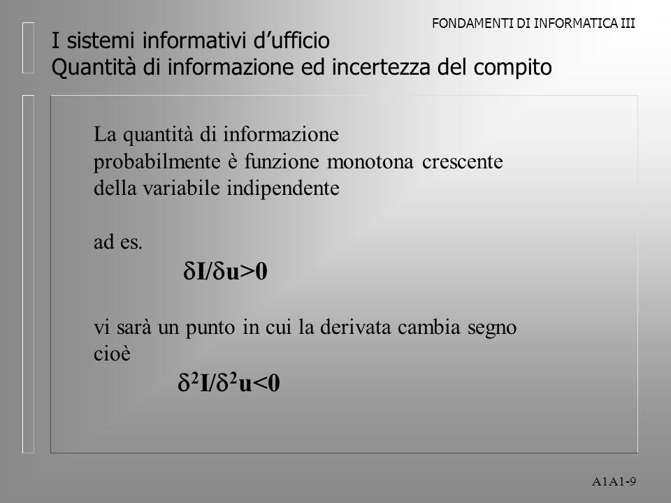 FONDAMENTI DI INFORMATICA III A1A1-10 I sistemi informativi dufficio Quantità di informazione ed incertezza del compito Quantità di informazione da trattare in funzione dellincertezza del compito, tenendo costanti le dimensioni e il grado di interdipendenza I U