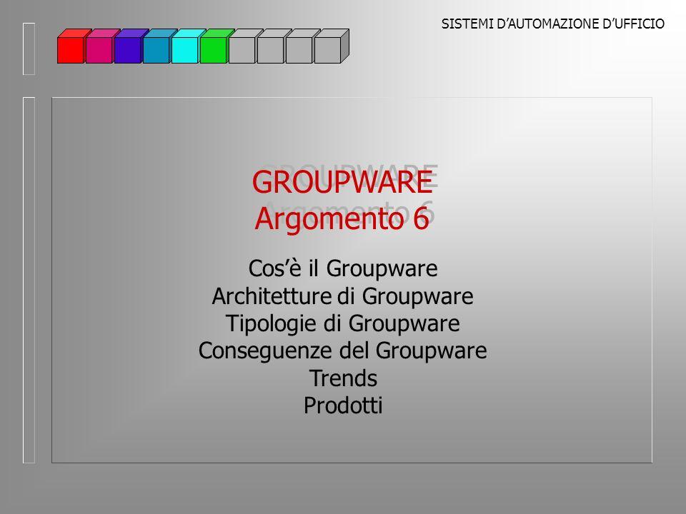 SISTEMI DAUTOMAZIONE DUFFICIO Groupware Architetture di Groupware Gli elementi normalmente definiti del groupware appartengono allo strato applicativo, che gli utilizzatori adoperano per eseguire il lavoro Le applicazioni tuttavia sono solo la parte più visibile del groupware Larchitettura sulla quale si basano le applicazioni determina leffettiva infrastruttura Cogliere larchitettura corretta per una soluzione di groupware che coinvolge tutta unazienda è un problema critico