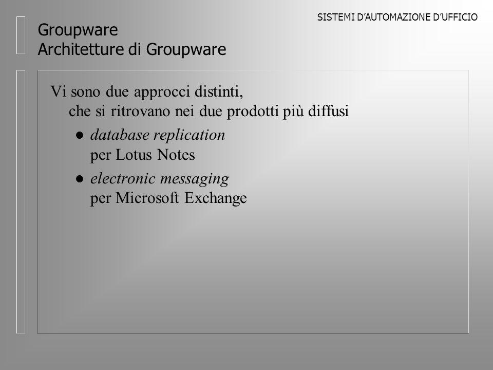 SISTEMI DAUTOMAZIONE DUFFICIO Groupware Architetture di Groupware Vi sono due approcci distinti, che si ritrovano nei due prodotti più diffusi l database replication per Lotus Notes l electronic messaging per Microsoft Exchange