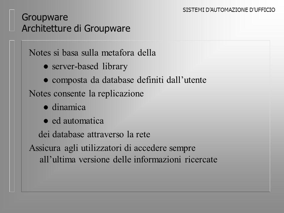 SISTEMI DAUTOMAZIONE DUFFICIO Groupware Architetture di Groupware Notes si basa sulla metafora della l server-based library l composta da database definiti dallutente Notes consente la replicazione l dinamica l ed automatica dei database attraverso la rete Assicura agli utilizzatori di accedere sempre allultima versione delle informazioni ricercate