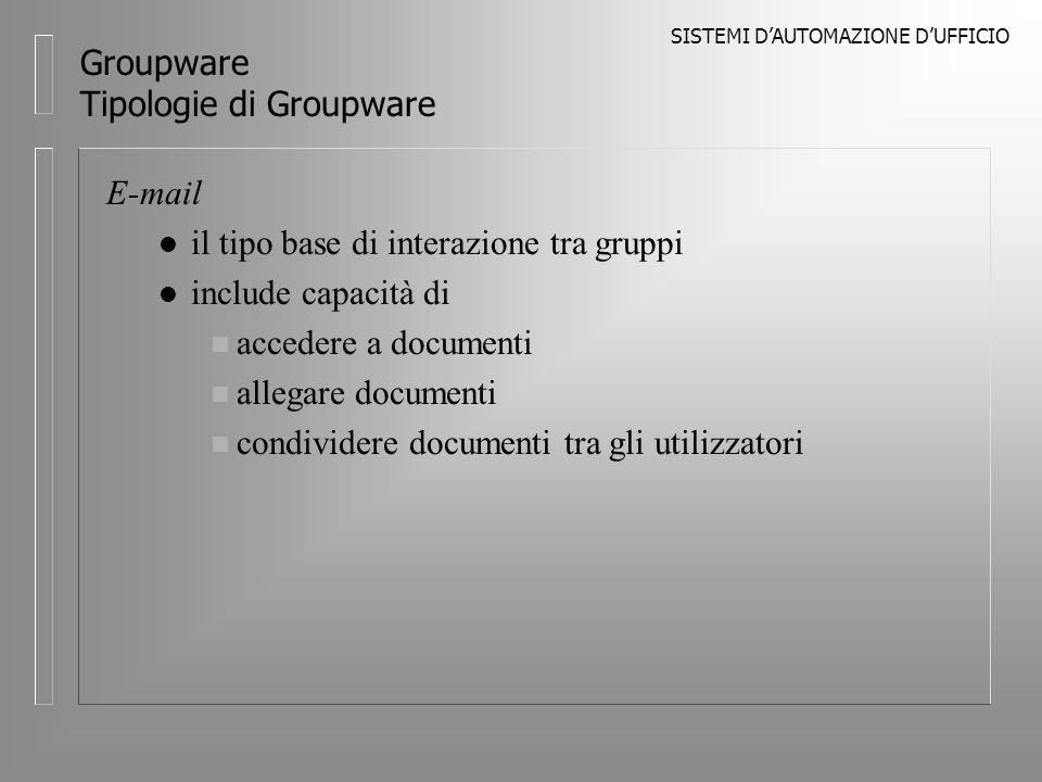 SISTEMI DAUTOMAZIONE DUFFICIO Groupware Tipologie di Groupware E-mail l il tipo base di interazione tra gruppi l include capacità di n accedere a documenti n allegare documenti n condividere documenti tra gli utilizzatori