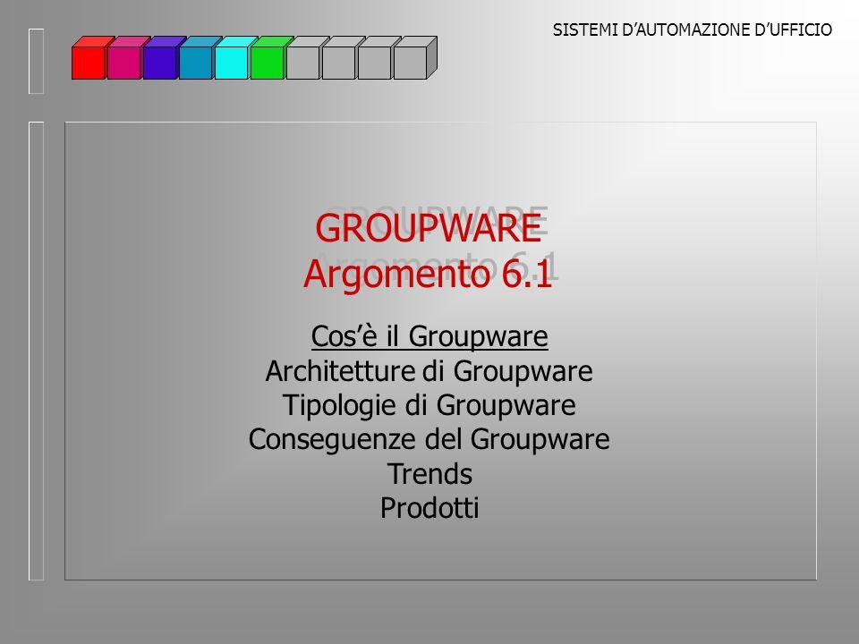 SISTEMI DAUTOMAZIONE DUFFICIO GROUPWARE Argomento 6.1 GROUPWARE Argomento 6.1 Cosè il Groupware Architetture di Groupware Tipologie di Groupware Conseguenze del Groupware Trends Prodotti