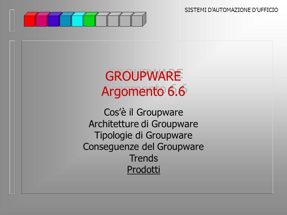 SISTEMI DAUTOMAZIONE DUFFICIO GROUPWARE Argomento 6.6 GROUPWARE Argomento 6.6 Cosè il Groupware Architetture di Groupware Tipologie di Groupware Conseguenze del Groupware Trends Prodotti