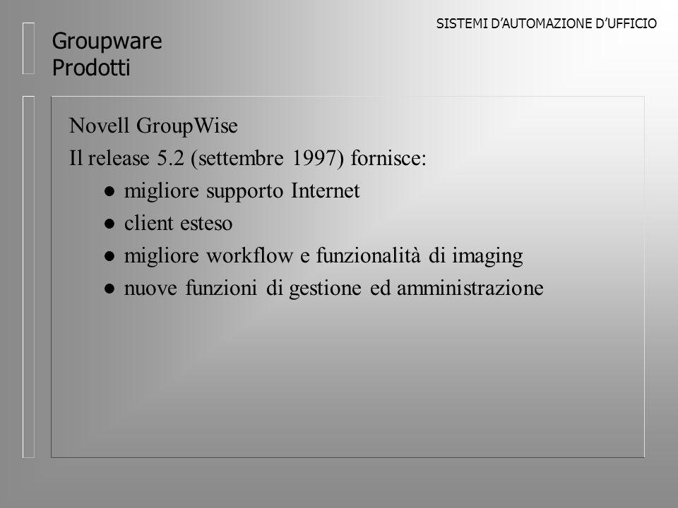 SISTEMI DAUTOMAZIONE DUFFICIO Groupware Prodotti Novell GroupWise Il release 5.2 (settembre 1997) fornisce: l migliore supporto Internet l client esteso l migliore workflow e funzionalità di imaging l nuove funzioni di gestione ed amministrazione