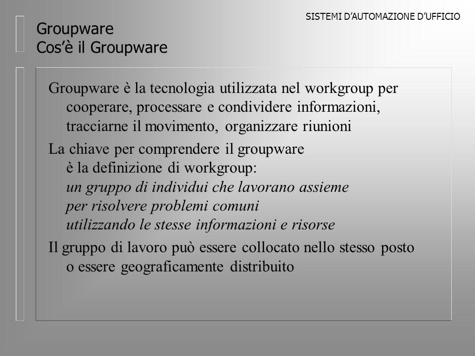 SISTEMI DAUTOMAZIONE DUFFICIO Groupware Prodotti Notes E leader nel mercato groupware con circa 14 milioni di posti di lavoro Gartner Group prevede che la posizione venga mantenuta nel 1999 e vi sia un sorpasso Microsoft nel 2001 Nel luglio 1997 accordo Lotus e Microsoft: integrazione nel client Notes 4.6 e nella SmartSuite di Microsoft Internet Explorer (IE), Notes 5.0 con IE 4.0 browser engine embedded Dalla release 5.0 supporto di Netscape Navigator (JavaBean container)