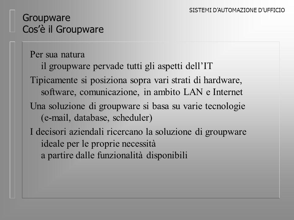 SISTEMI DAUTOMAZIONE DUFFICIO Groupware Tipologie di Groupware Si possono distinguere varie categorie di Groupware in base alle funzionalità supportate: l E-mail l Calendaring/Scheduling l Conferencing l Workflow