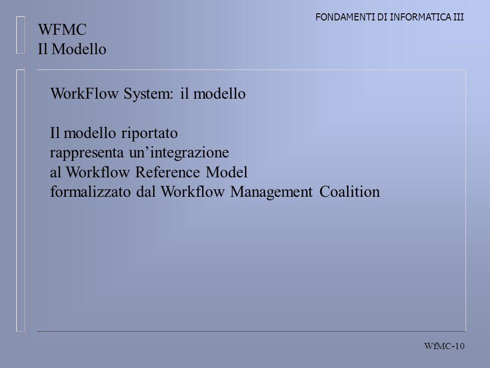 FONDAMENTI DI INFORMATICA III WfMC-10 WFMC Il Modello WorkFlow System: il modello Il modello riportato rappresenta unintegrazione al Workflow Reference Model formalizzato dal Workflow Management Coalition