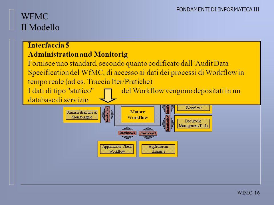 FONDAMENTI DI INFORMATICA III WfMC-16 Workflow Reference Model Interfaccia 5 Administration and Monitorig Fornisce uno standard, secondo quanto codificato dallAudit Data Specification del WfMC, di accesso ai dati dei processi di Workflow in tempo reale (ad es.