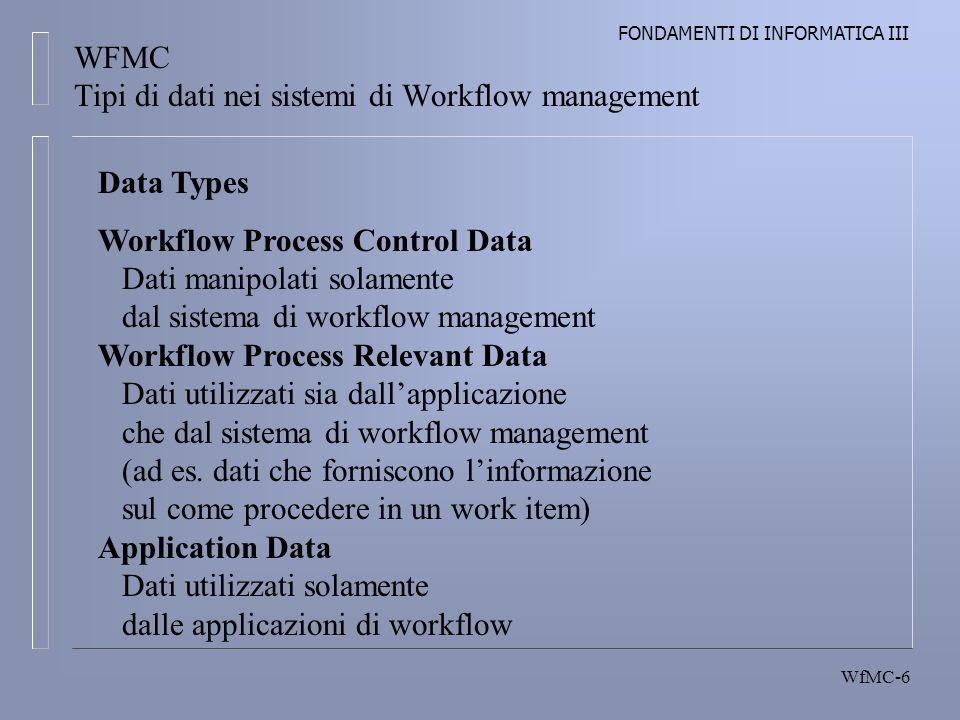 FONDAMENTI DI INFORMATICA III WfMC-6 WFMC Tipi di dati nei sistemi di Workflow management Data Types Workflow Process Control Data Dati manipolati solamente dal sistema di workflow management Workflow Process Relevant Data Dati utilizzati sia dallapplicazione che dal sistema di workflow management (ad es.