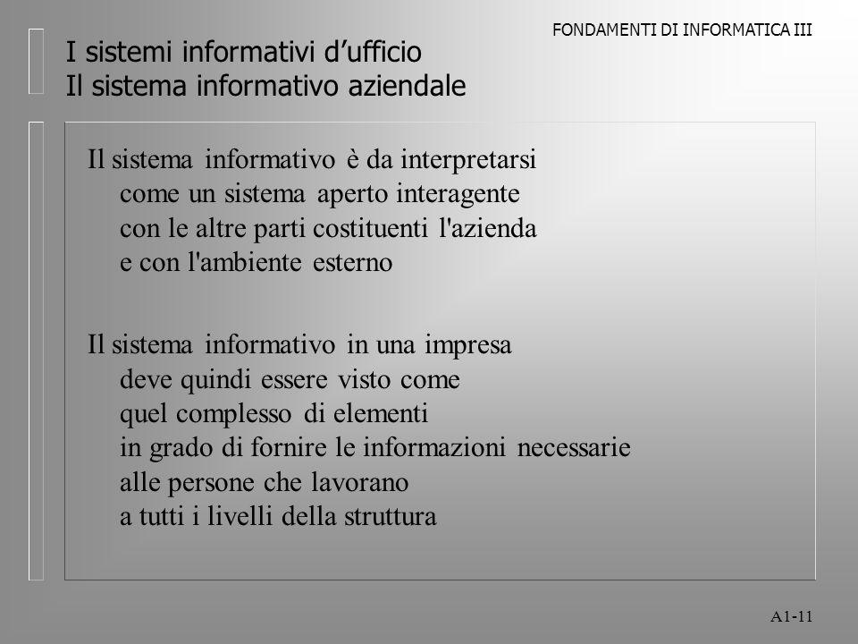 FONDAMENTI DI INFORMATICA III A1-11 I sistemi informativi dufficio Il sistema informativo aziendale Il sistema informativo è da interpretarsi come un