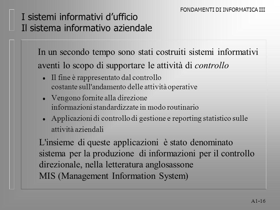 FONDAMENTI DI INFORMATICA III A1-16 I sistemi informativi dufficio Il sistema informativo aziendale In un secondo tempo sono stati costruiti sistemi i