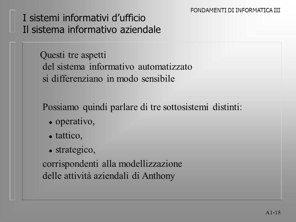 FONDAMENTI DI INFORMATICA III A1-18 I sistemi informativi dufficio Il sistema informativo aziendale Questi tre aspetti del sistema informativo automat