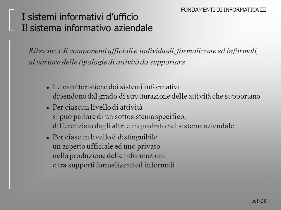 FONDAMENTI DI INFORMATICA III A1-28 I sistemi informativi dufficio Il sistema informativo aziendale Rilevanza di componenti ufficiali e individuali, f