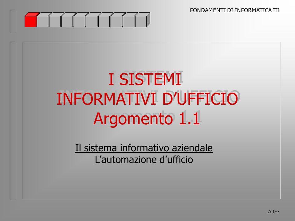 FONDAMENTI DI INFORMATICA III A1-3 I SISTEMI INFORMATIVI DUFFICIO Argomento 1.1 I SISTEMI INFORMATIVI DUFFICIO Argomento 1.1 Il sistema informativo az