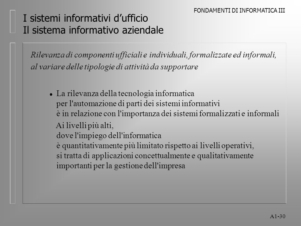 FONDAMENTI DI INFORMATICA III A1-30 I sistemi informativi dufficio Il sistema informativo aziendale Rilevanza di componenti ufficiali e individuali, f