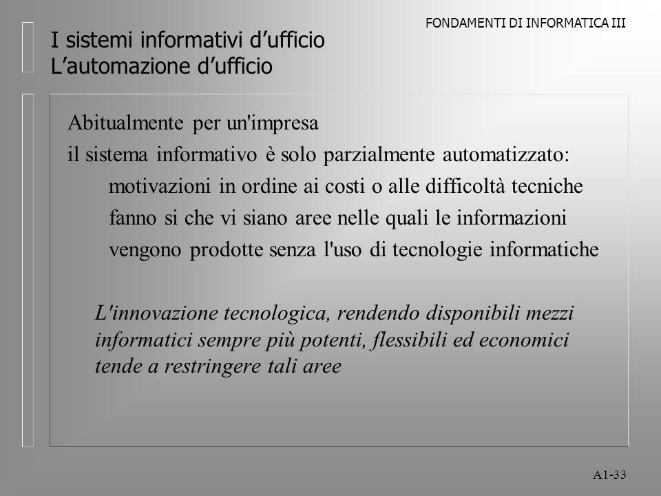 FONDAMENTI DI INFORMATICA III A1-33 I sistemi informativi dufficio Lautomazione dufficio Abitualmente per un'impresa il sistema informativo è solo par