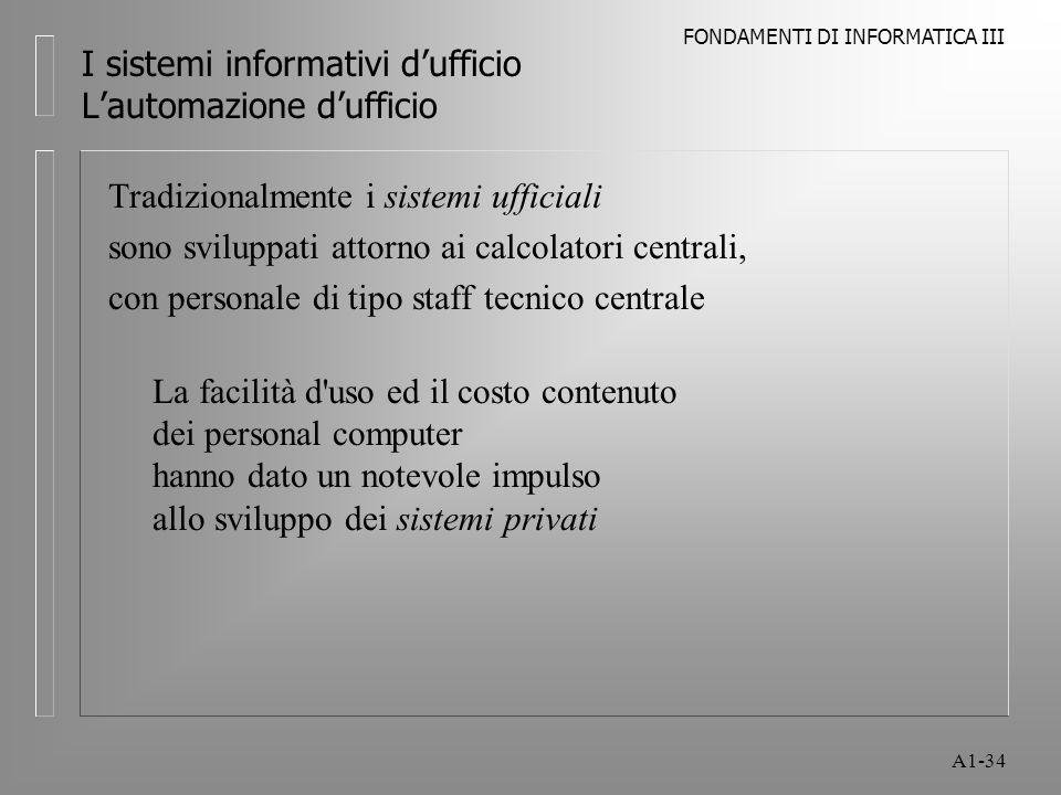 FONDAMENTI DI INFORMATICA III A1-34 I sistemi informativi dufficio Lautomazione dufficio Tradizionalmente i sistemi ufficiali sono sviluppati attorno