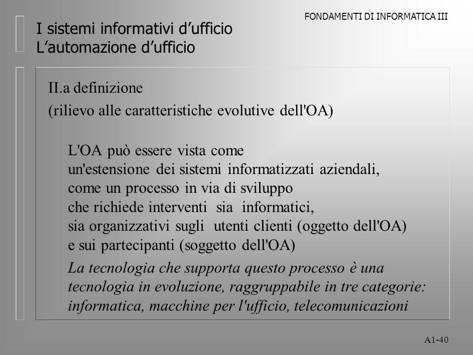 FONDAMENTI DI INFORMATICA III A1-40 I sistemi informativi dufficio Lautomazione dufficio II.a definizione (rilievo alle caratteristiche evolutive dell