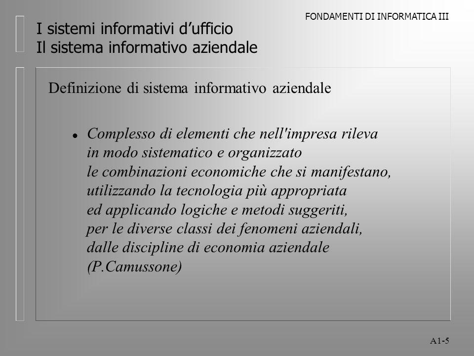 FONDAMENTI DI INFORMATICA III A1-5 I sistemi informativi dufficio Il sistema informativo aziendale Definizione di sistema informativo aziendale l Comp