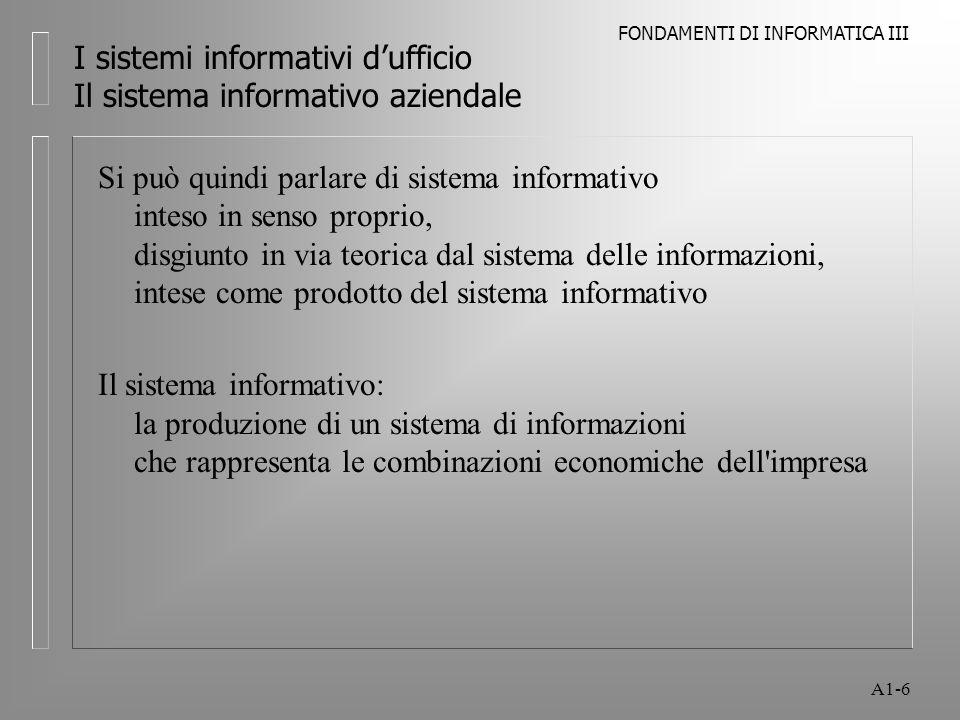 FONDAMENTI DI INFORMATICA III A1-6 I sistemi informativi dufficio Il sistema informativo aziendale Si può quindi parlare di sistema informativo inteso