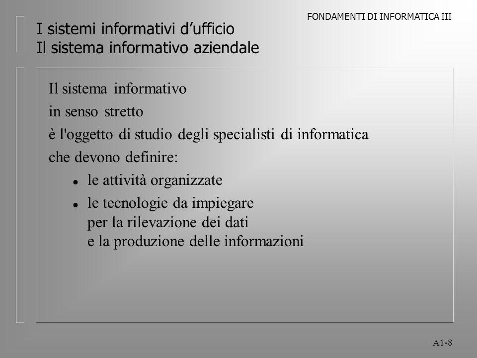 FONDAMENTI DI INFORMATICA III A1-8 I sistemi informativi dufficio Il sistema informativo aziendale Il sistema informativo in senso stretto è l'oggetto