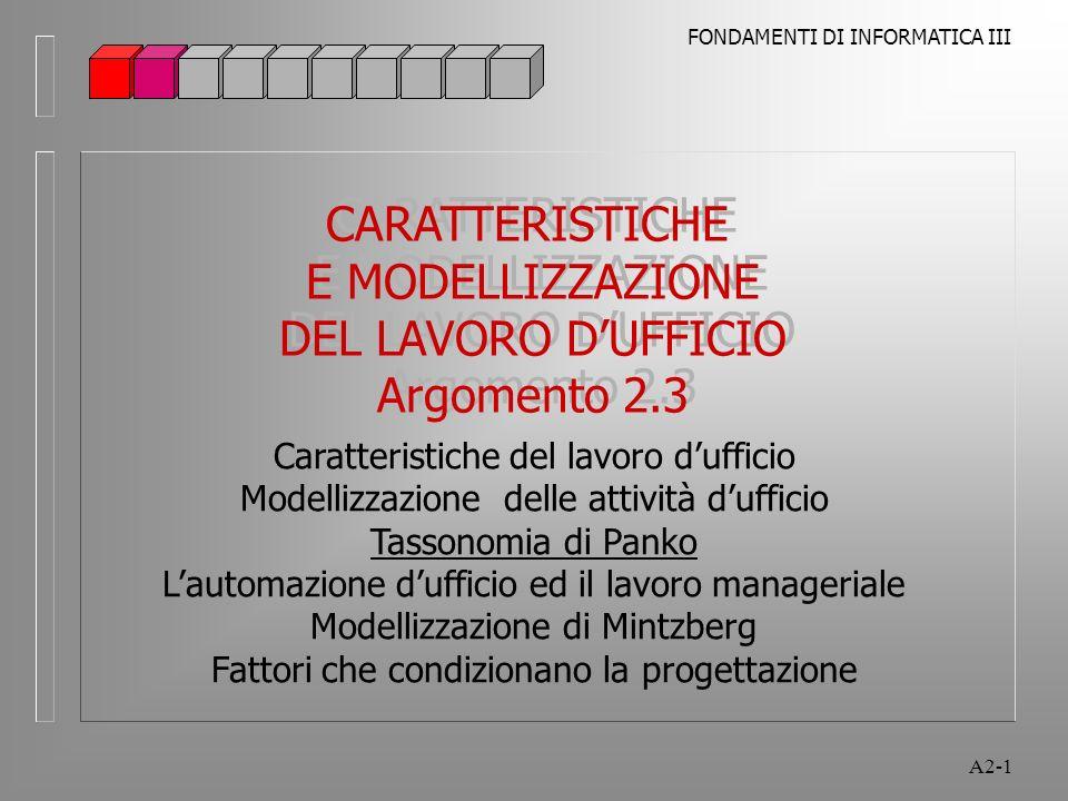 FONDAMENTI DI INFORMATICA III A2-1 CARATTERISTICHE E MODELLIZZAZIONE DEL LAVORO DUFFICIO Argomento 2.3 CARATTERISTICHE E MODELLIZZAZIONE DEL LAVORO DUFFICIO Argomento 2.3 Caratteristiche del lavoro dufficio Modellizzazione delle attività dufficio Tassonomia di Panko Lautomazione dufficio ed il lavoro manageriale Modellizzazione di Mintzberg Fattori che condizionano la progettazione