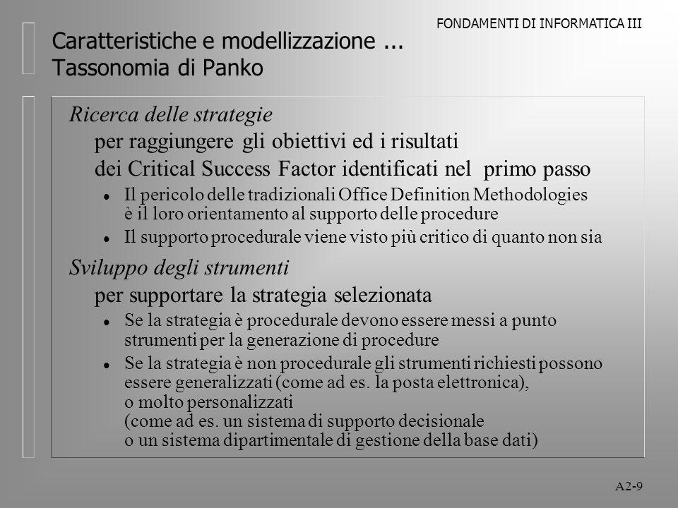 FONDAMENTI DI INFORMATICA III A2-9 Caratteristiche e modellizzazione...