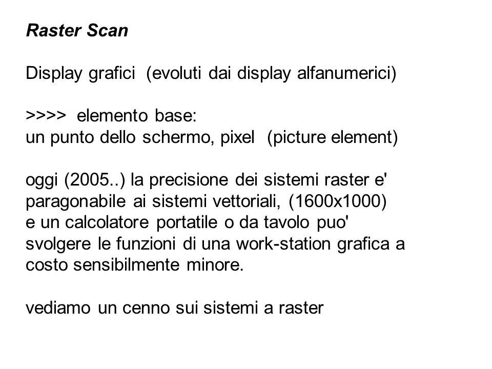 Raster Scan Display grafici (evoluti dai display alfanumerici) >>>> elemento base: un punto dello schermo, pixel (picture element) oggi (2005..) la precisione dei sistemi raster e paragonabile ai sistemi vettoriali, (1600x1000) e un calcolatore portatile o da tavolo puo svolgere le funzioni di una work-station grafica a costo sensibilmente minore.