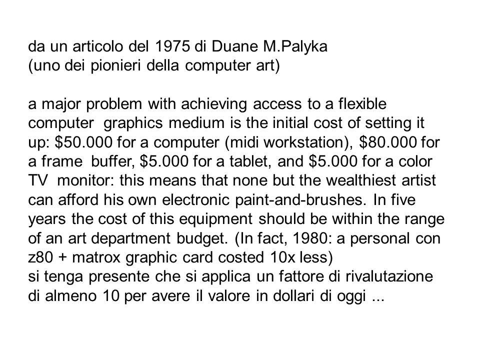 da un articolo del 1975 di Duane M.Palyka (uno dei pionieri della computer art) a major problem with achieving access to a flexible computer graphics