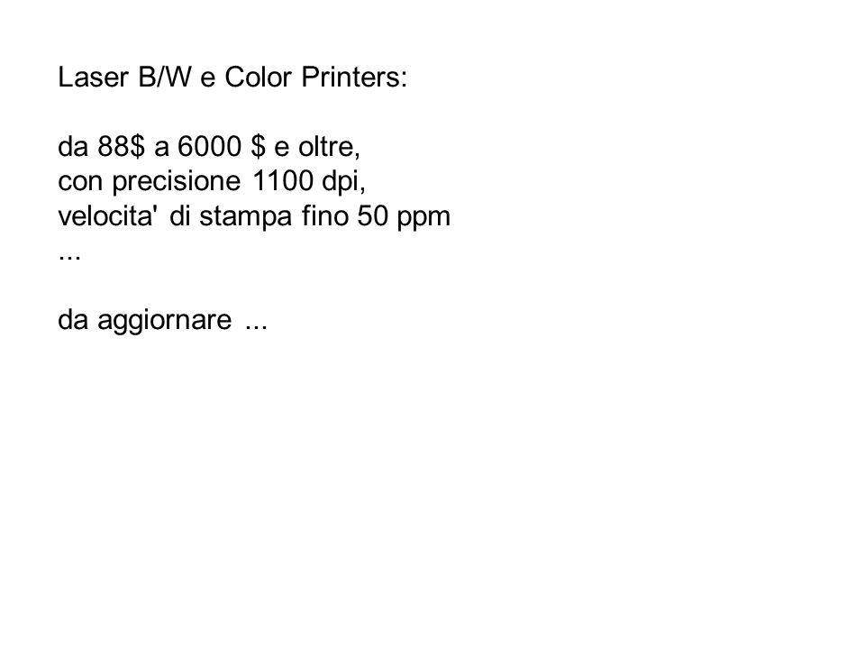 Laser B/W e Color Printers: da 88$ a 6000 $ e oltre, con precisione 1100 dpi, velocita' di stampa fino 50 ppm... da aggiornare...