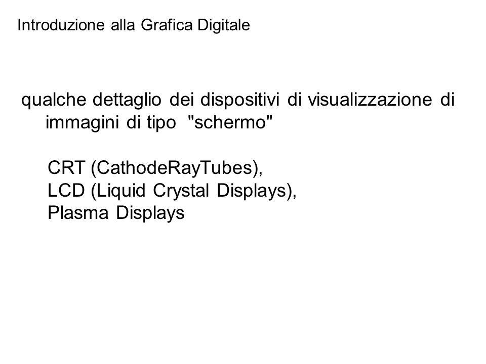 Introduzione alla Grafica Digitale qualche dettaglio dei dispositivi di visualizzazione di immagini di tipo schermo CRT (CathodeRayTubes), LCD (Liquid Crystal Displays), Plasma Displays