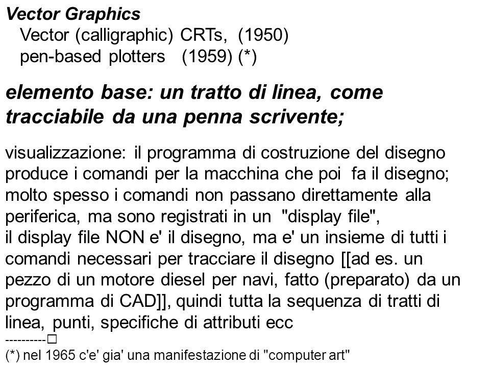 Vector Graphics Vector (calligraphic) CRTs, (1950) pen-based plotters (1959) (*) elemento base: un tratto di linea, come tracciabile da una penna scrivente; visualizzazione: il programma di costruzione del disegno produce i comandi per la macchina che poi fa il disegno; molto spesso i comandi non passano direttamente alla periferica, ma sono registrati in un display file , il display file NON e il disegno, ma e un insieme di tutti i comandi necessari per tracciare il disegno [[ad es.