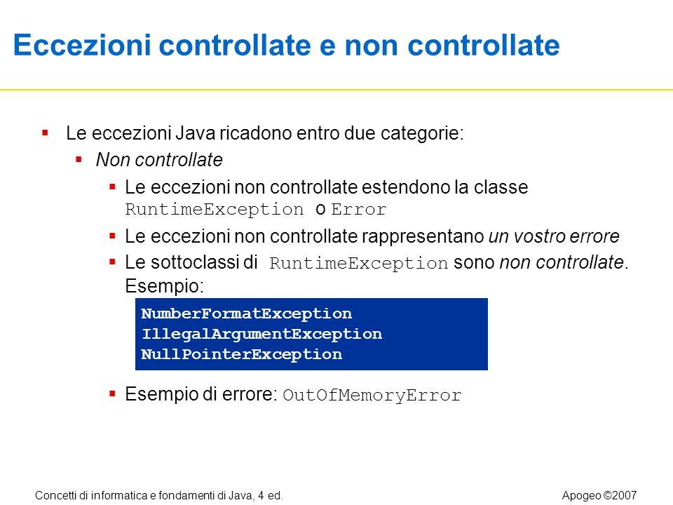 Concetti di informatica e fondamenti di Java, 4 ed.Apogeo ©2007 Eccezioni controllate e non controllate Le eccezioni Java ricadono entro due categorie: Non controllate Le eccezioni non controllate estendono la classe RuntimeException o Error Le eccezioni non controllate rappresentano un vostro errore Le sottoclassi di RuntimeException sono non controllate.