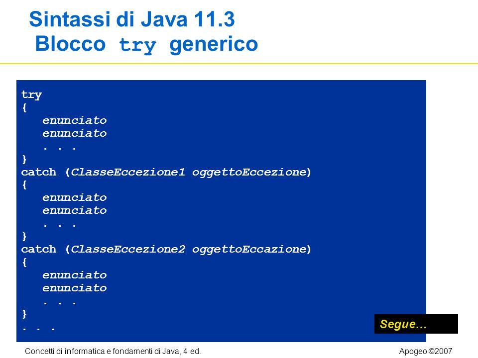 Concetti di informatica e fondamenti di Java, 4 ed.Apogeo ©2007 Sintassi di Java 11.3 Blocco try generico try { enunciato...