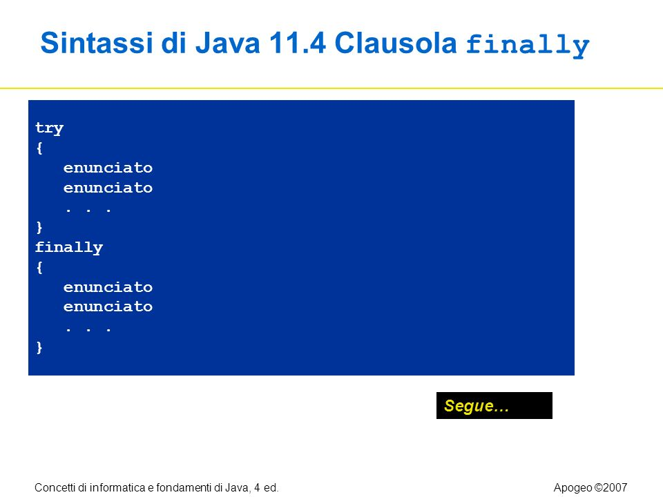 Concetti di informatica e fondamenti di Java, 4 ed.Apogeo ©2007 Sintassi di Java 11.4 Clausola finally try { enunciato... } finally { enunciato... } S