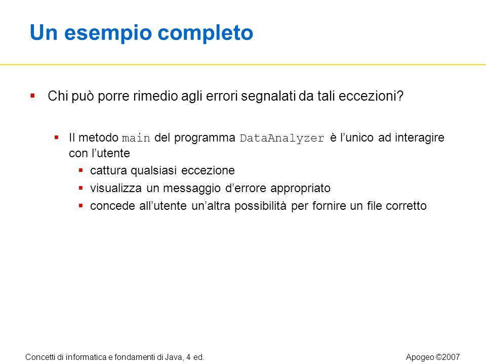 Concetti di informatica e fondamenti di Java, 4 ed.Apogeo ©2007 Un esempio completo Chi può porre rimedio agli errori segnalati da tali eccezioni.
