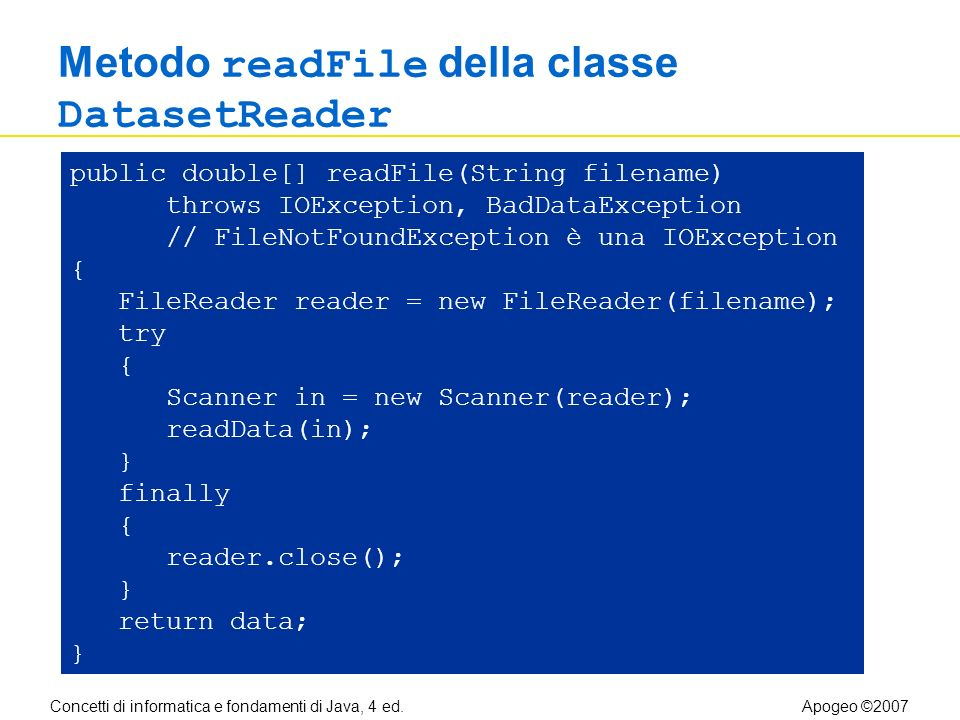 Concetti di informatica e fondamenti di Java, 4 ed.Apogeo ©2007 Metodo readFile della classe DatasetReader public double[] readFile(String filename) throws IOException, BadDataException // FileNotFoundException è una IOException { FileReader reader = new FileReader(filename); try { Scanner in = new Scanner(reader); readData(in); } finally { reader.close(); } return data; }