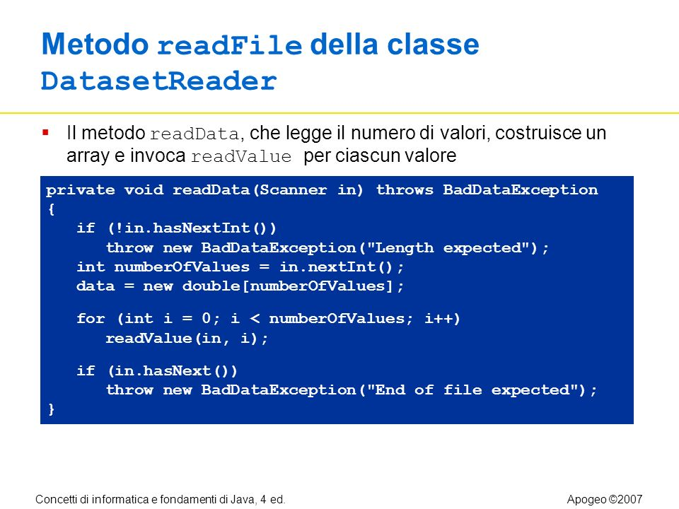 Concetti di informatica e fondamenti di Java, 4 ed.Apogeo ©2007 Metodo readFile della classe DatasetReader Il metodo readData, che legge il numero di valori, costruisce un array e invoca readValue per ciascun valore private void readData(Scanner in) throws BadDataException { if (!in.hasNextInt()) throw new BadDataException( Length expected ); int numberOfValues = in.nextInt(); data = new double[numberOfValues]; for (int i = 0; i < numberOfValues; i++) readValue(in, i); if (in.hasNext()) throw new BadDataException( End of file expected ); }