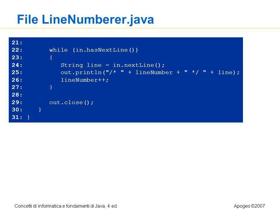 Concetti di informatica e fondamenti di Java, 4 ed.Apogeo ©2007 File LineNumberer.java 21: 22: while (in.hasNextLine()) 23: { 24: String line = in.nextLine(); 25: out.println( /* + lineNumber + */ + line); 26: lineNumber++; 27: } 28: 29: out.close(); 30: } 31: }