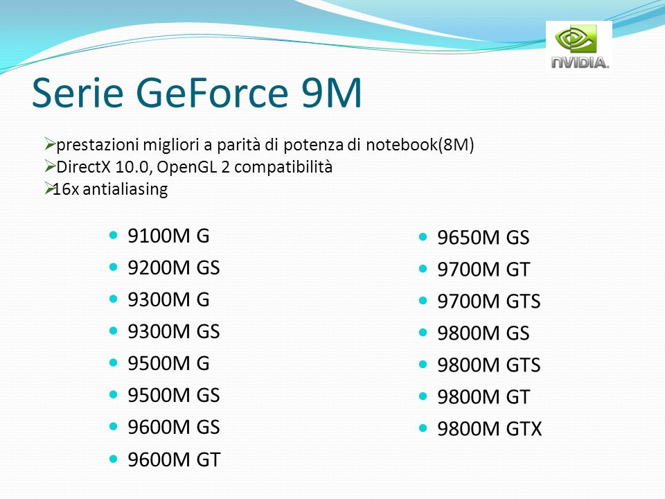 Serie GeForce 9M 9100M G 9200M GS 9300M G 9300M GS 9500M G 9500M GS 9600M GS 9600M GT 9650M GS 9700M GT 9700M GTS 9800M GS 9800M GTS 9800M GT 9800M GT